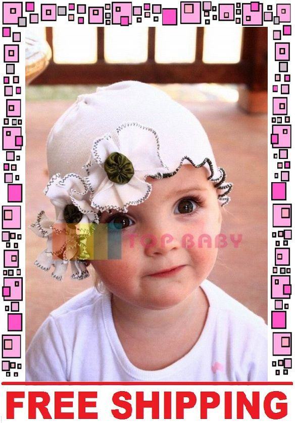 White 3 Flower Baby Beanie