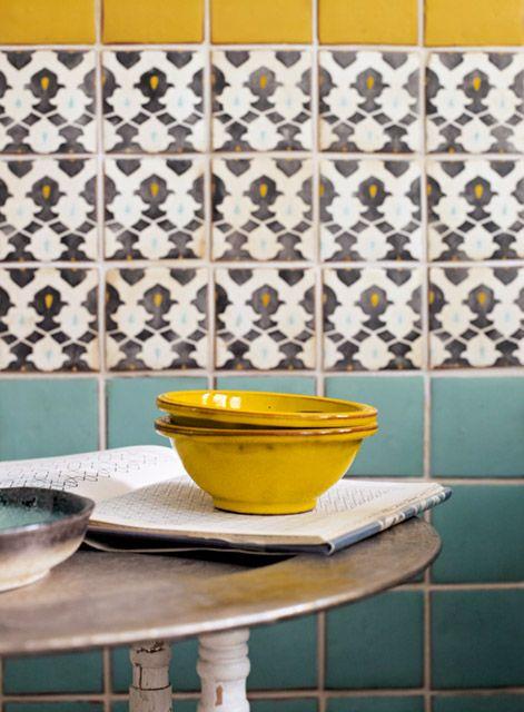 Marrakech Turquoise, Honey and Targa tiles http://www.firedearth.com/tiles/range/marrakech/mode/grid