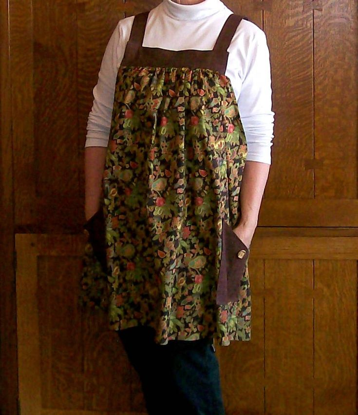 Excited to share the latest addition to my #etsy shop: Brown Floral No Tie Smock Apron - Size XL to 2XL - Pinafore Apron - Kitchen Smock