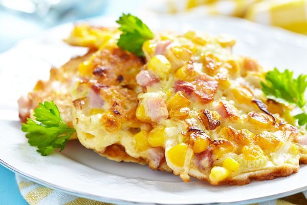 CORN AND HAM FRITTERS 1 1/4 cups all-purpose flour 1 cup creamed corn 3/4 cup ham, cubed 1/2 cup whole milk 2 lg eggs 1 shallot, diced 1 tbs olive oil 1 1/2 tsp baking powder kosher salt & fresh ground pepper, to taste canola or vegetable oil, for frying