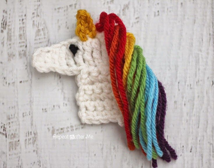 Repeat Crafter Me: U is for Unicorn: Crochet Unicorn Applique