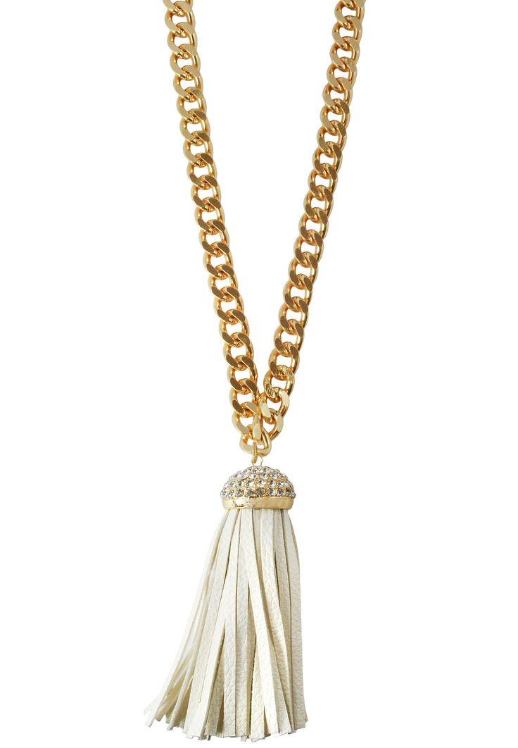 Giselle Gold Fringe Pendant Necklace