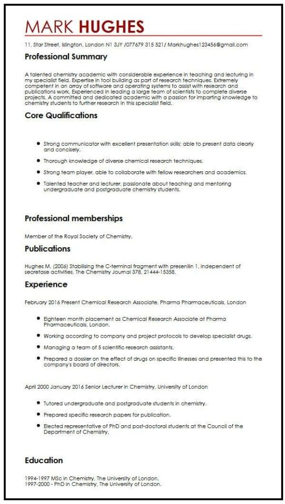 Cv With Publications Myperfectcv Resume Examples Teacher Resume Examples Job Resume Examples