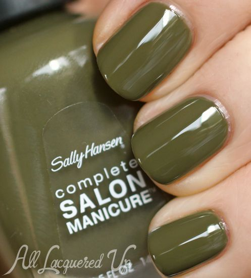 Sally Hansen Loden Green nail polish swatch Prabal Gurung for Sally Hansen Fall 2013 Nail Polish Swatches and Review