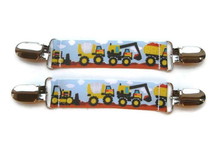 Boys MITTEN CLIPS- Mitt Clips- Mitten Leash- Glove Clips for Kids Winter Jacket- Sleeve Clips- Construction Trucks- Christmas Gift for Boy