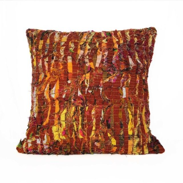 Chestnut Cushion. Quilted and textured layers of golden yellow fabric. Hand crafted by Flamingo Tree