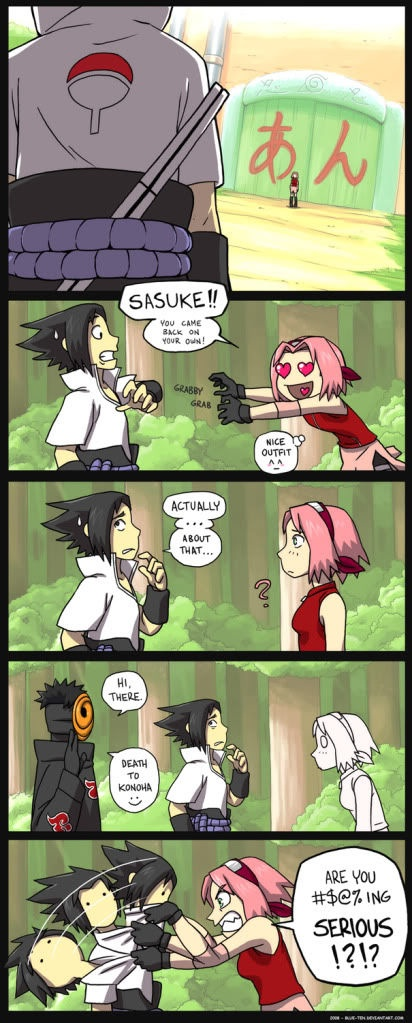 """No I'm pretty sure her only reaction would be """"Sasuke-kun...""""."""