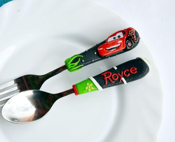 Mc Queen Car Personalized Gift Cutlery Set Boy par RadArtaDesign
