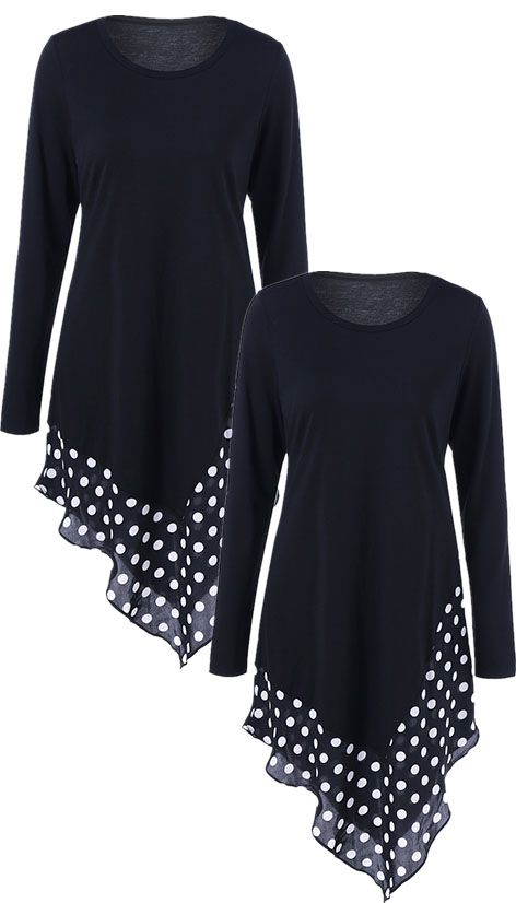 $11.72 Asymmetrical Polka Dot Long Sleeve Tee