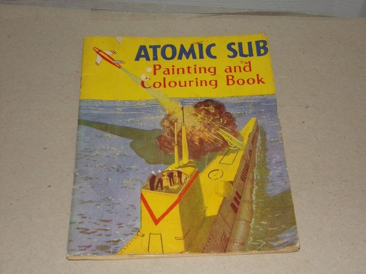 Vintage RARE Atomic Sub Painting And Colouring Book Streamline Pub