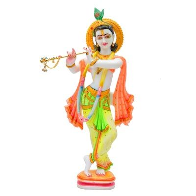 White Marble Colorful Krishna Statue By Gharonda God Idols & Statues on Shimply.com