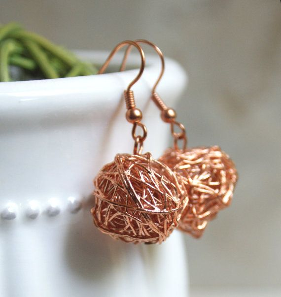 Copper Wire Earrings by HaynesHerWay on Etsy