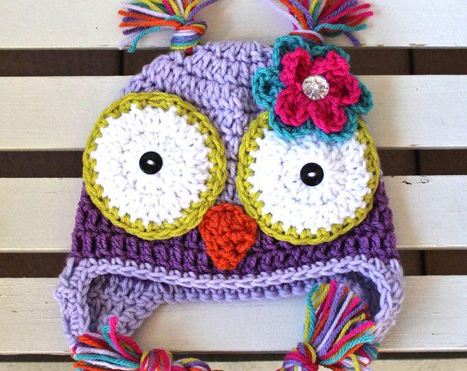 Girl Owl Hat, sombrero de buho, bebé búho sombrero, sombrero de los niños, sombrero de los niños, sombrero morado, sombrero de Halloween, Foto Prop