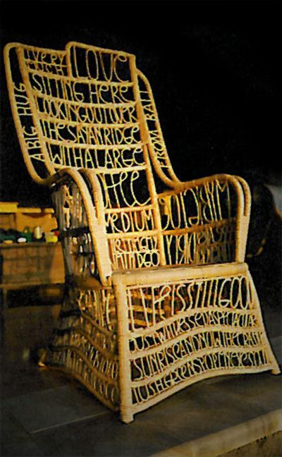 THE Stefan Sagmeister's typographic chair. He created this in Bali. How clever is that?