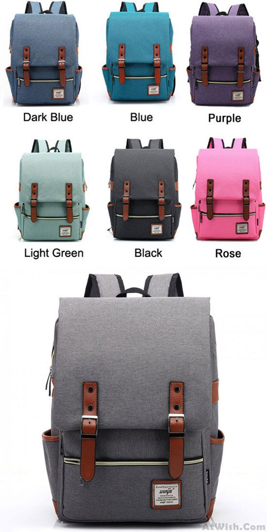 which color do you Like? Retro Large Travel Backpack Leisure Leather Canvas Backpack Schoolbag #retro #leather #canvas #school #bag #college #rucksack