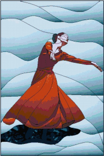 Stained Glass Modern Dancer Counted Cross Stitch Pattern Chart $9.95 www.TheStitchersArt.com/2149-Stained-Glass-Modern-Dance.html