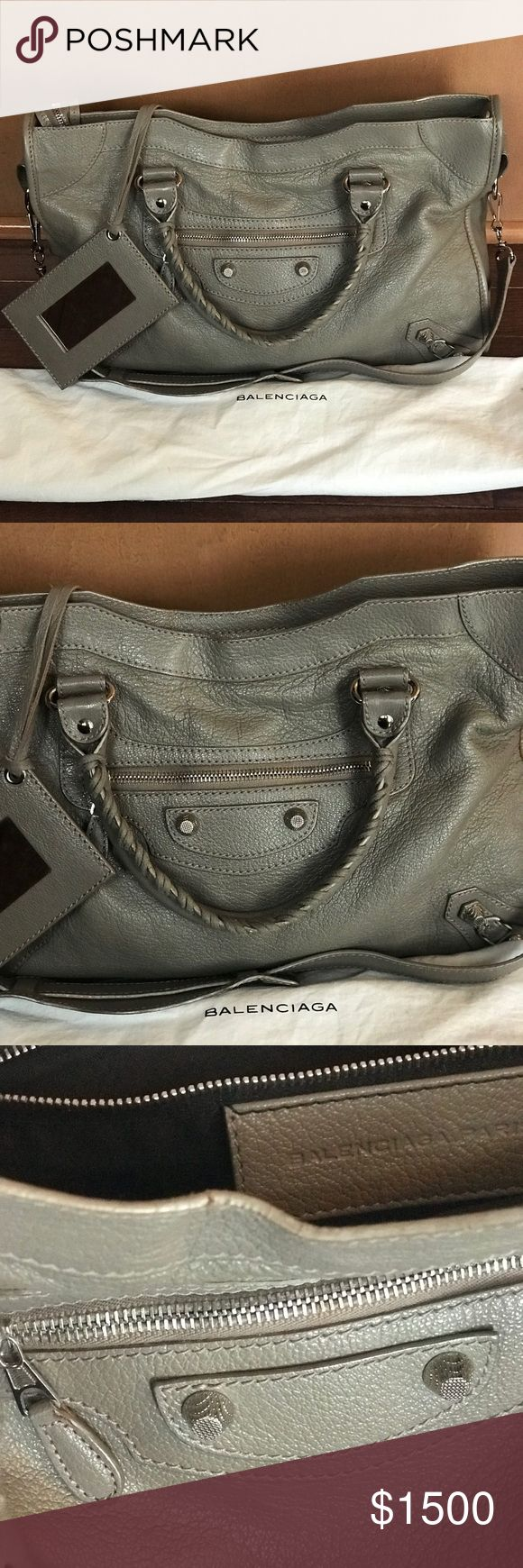 "Authentic Balenciaga Classic Nickel City Bag Well preserved Authentic Balenciaga Nickel City Bag aka ""the Motorcycle bag"" in a beautiful Graphite color. Made of Crackled lambskin  with Giant studs, zip closure, and of-course the framed mirror.  Dimensions: 10.2""H x 15""W x 5.9""D Balenciaga Bags Shoulder Bags"