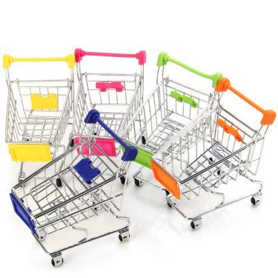 Wholesale 1 Piece Mini Supermarket Handcart Shopping Utility Cart Toy Phone Jewelry Stand Holder (RANDOM COLOR) | Everbuying