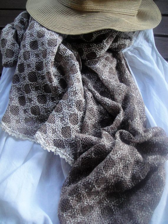 Chic romantic boho style scarf in beige by athanasiaCREATIONS