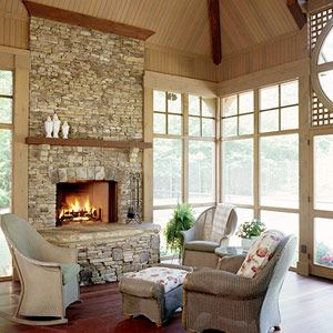 I love the idea of a fireplace in the sunroom!