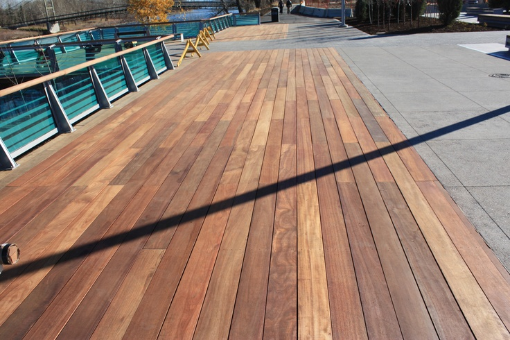 The RiverWalk in Calgary, Alberta is made up of our Dark Red Meranti exotic hardwood. They are letting it grey out into a silver patina. Which is maintenance free but still beautiful. Kayu Canada supplied all the wood for this project.