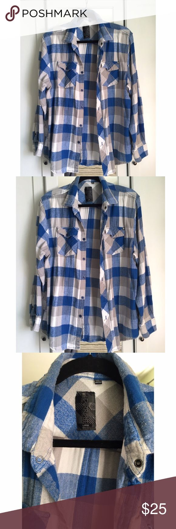 """Boyfriend"" Flannel Preloved ""boyfriend"" flannel in gray, blue and white. Size large. Small stain from chocolate. See picture. I think with some stain remover spray it will come out but I don't want to chance ruining it further. Tops Button Down Shirts"
