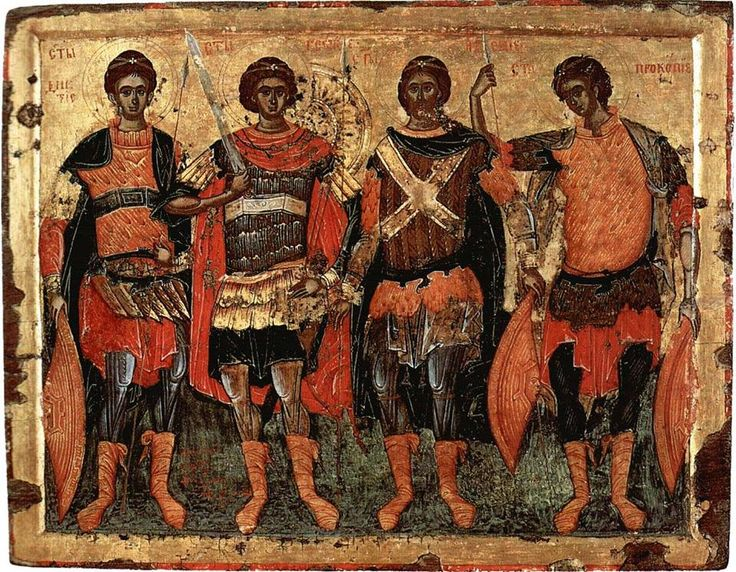 Four holy warriors (left to right): Demetrius, George, Artemius and Procopius Monastery of Hilandar on Mount Athos. 1618 AC.