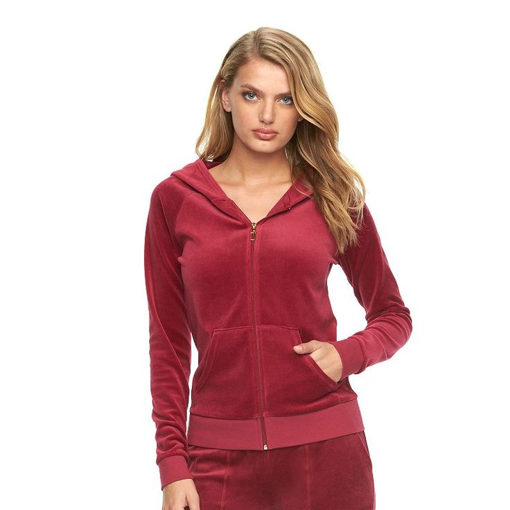 Women's Juicy Couture Embellished Velour Hoodie Jacket, Red