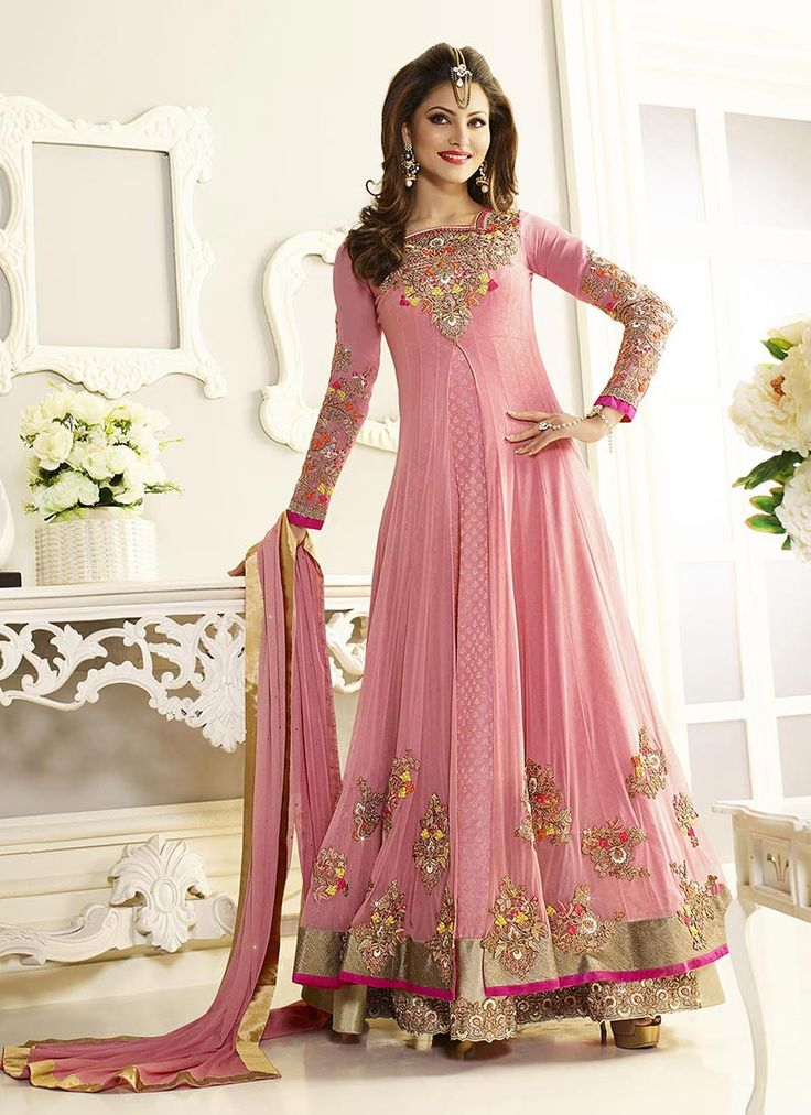 Buy Urvashi Rautela Pink Floor Length Anarkali Suit online from the wide collection of anarkali-suit. This Pink colored anarkali-suit in Net fabric goes well with any occasion. Shop online Designer anarkali-suit from cbazaar at the lowest price.