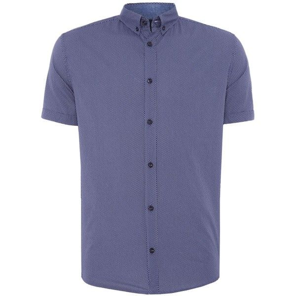 Armani Jeans Regular Fit Short Sleeve Micro Geo Print Shirt (€145) ❤ liked on Polyvore featuring men's fashion, men's clothing, men's shirts, men's casual shirts, mens short sleeve shirts, mens cotton shirts, mens classic fit shirts and men's regular fit shirts