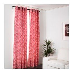 """NUNNERÖRT Curtains, 1 pair, red/white - 57x98 """" - IKEA"""