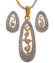 Buy Shining Gold American Diamond Pendant Set with Earrings Pendant online