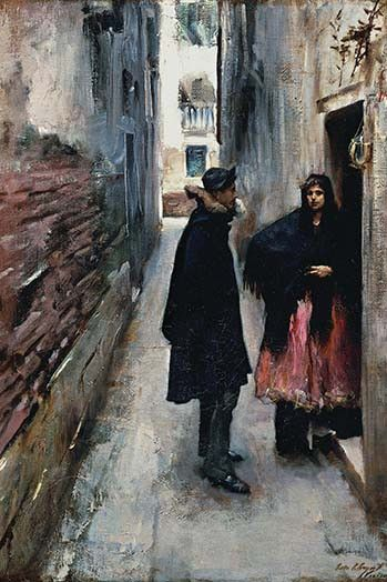 """A Street in Venice. John Singer Sargent (January 12, 1856 – April 14, 1925) was an American artist, considered the """"leading portrait painter of his generation"""" for his evocations of Edwardian era luxu"""