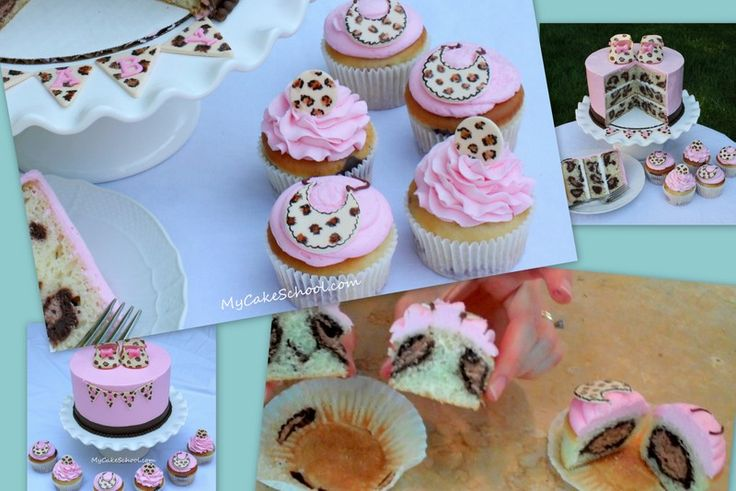 Leopard Print (pattern on the inside) Cupcakes!~ Baby Shower- Video Tutorial