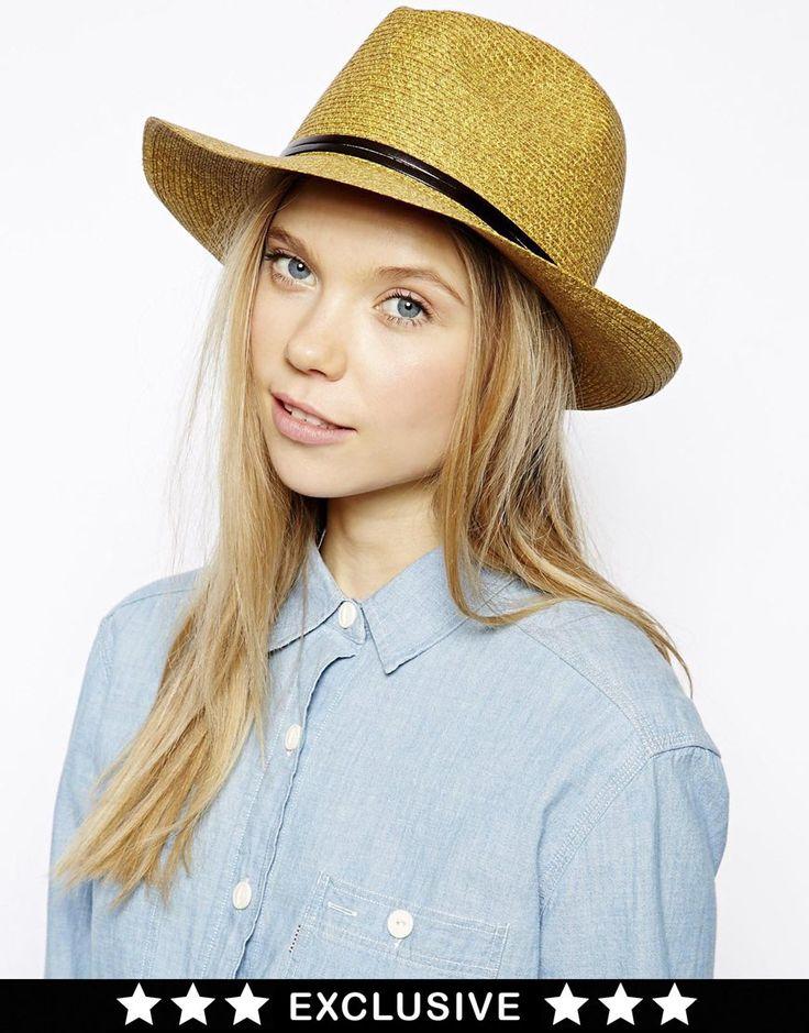 €60, Sombrero de Paja Mostaza de Catarzi. De Asos. Detalles: https://lookastic.com/women/shop_items/92097/redirect