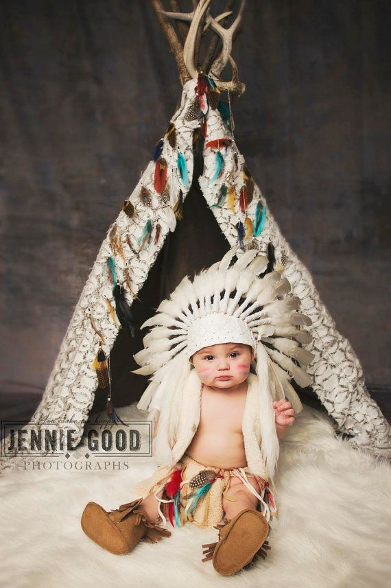 N02- For 9 to 18 month Toddler / Baby  White Headdress for the little  sc 1 st  Pinterest : indian infant costume  - Germanpascual.Com