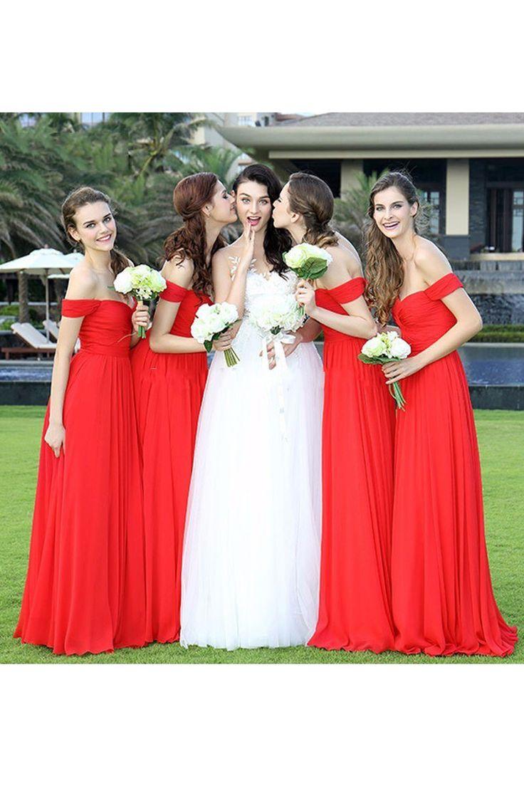 2019 New Arrival Off The Shoulder Bridesmaid Dresses A Line Chiffon US$ 109.00 BUKPEYKRZ22