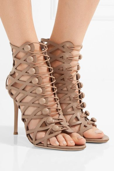 Heel measures approximately 105mm/ 4 inches Taupe leather Button-fastening front straps  Designer color: Praline  Made in Italy