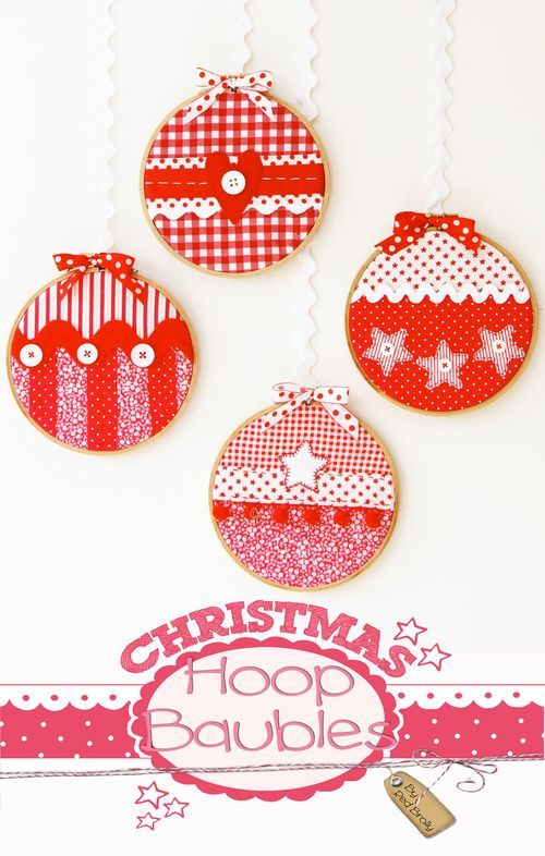 Christmas Hoop Ornaments: Full Tutorial...these are really fast and easy, so cute!