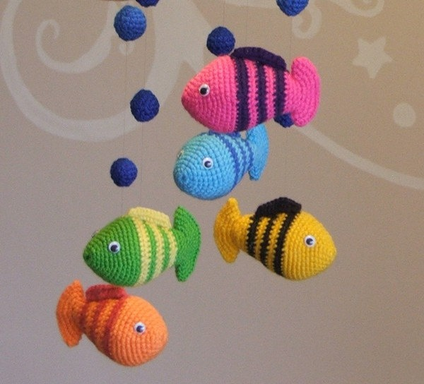 Crochet baby mobile with fish and lake - colorful decor. $60.00, via Etsy.