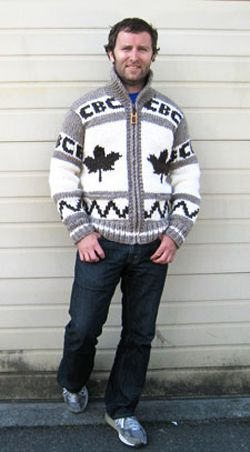 cowichan sweater on Grant Lawrence, CBC xx cowichan salish sweater history cardigan colourwork knitting