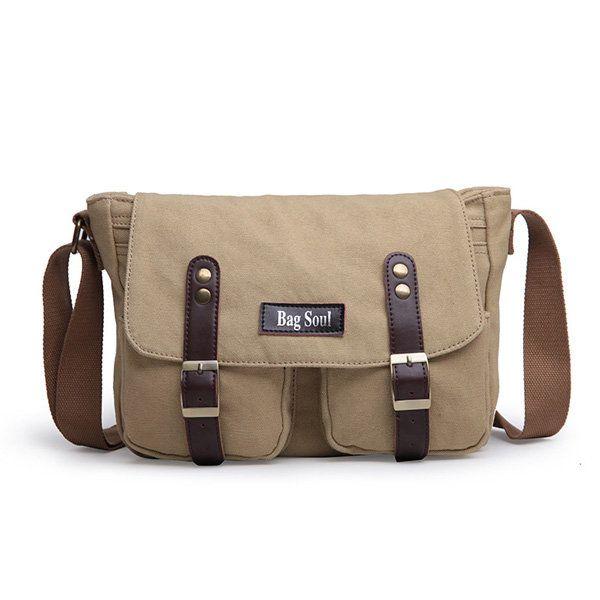 Men Canvas Messenger Bag Fashion Laptop Shoulder Bag Black Khaki Bag