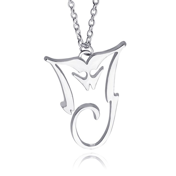Michael Jackson Necklace Silver Plated Pendant MJ King Of Pop Thriller Moonwalker MJ Bad logo Wholesale Jewelry