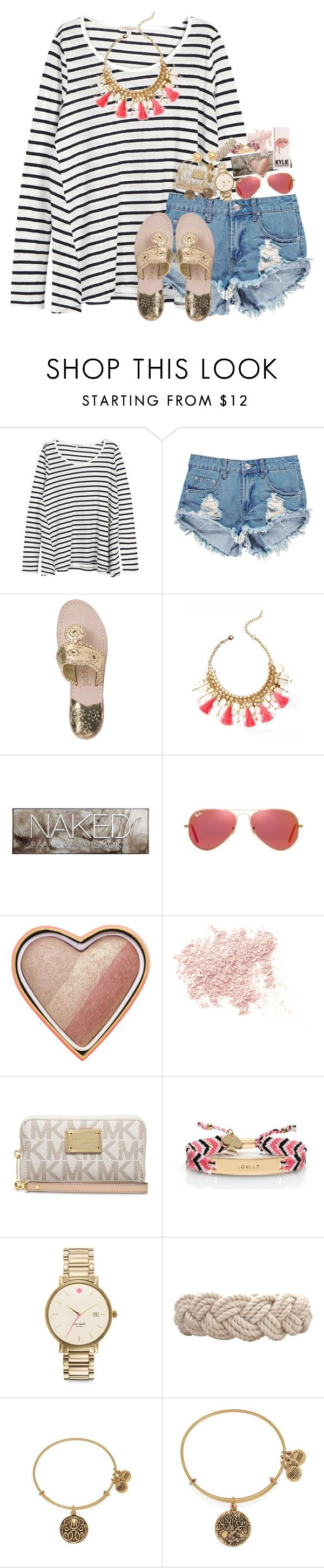 """""""thinking ab doing a contest"""" by kate-elizabethh ❤ liked on Polyvore featuring Demylee, Boohoo, Jack Rogers, Lilly Pulitzer, Urban Decay, Ray-Ban, Too Faced Cosmetics, Bare Escentuals, MICHAEL Michael Kors and Kate Spade"""