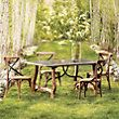 """Luca 63"""" Rectangle Trestle Dining Table With Bluestone Top In Natural   Arhaus Furniture"""