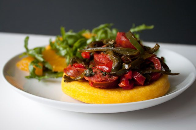 Chorizo Arepas with Arugula Orange Salad