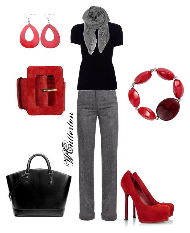 """Red Accents"" by wcatterton ❤ liked on Polyvore featuring Freda, Yves Saint Laurent, Ralph Lauren Black Label, Zara, Betty Jackson. Black and Abella"