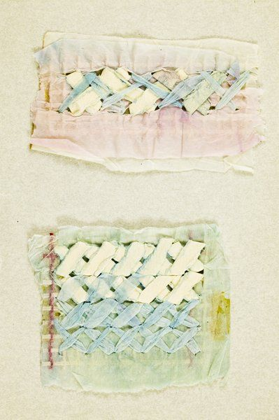 """paper herringbone stitch sampler from the """"Constance Howard Resource and Research Centre in Textiles: Material Collection"""" at VADS."""