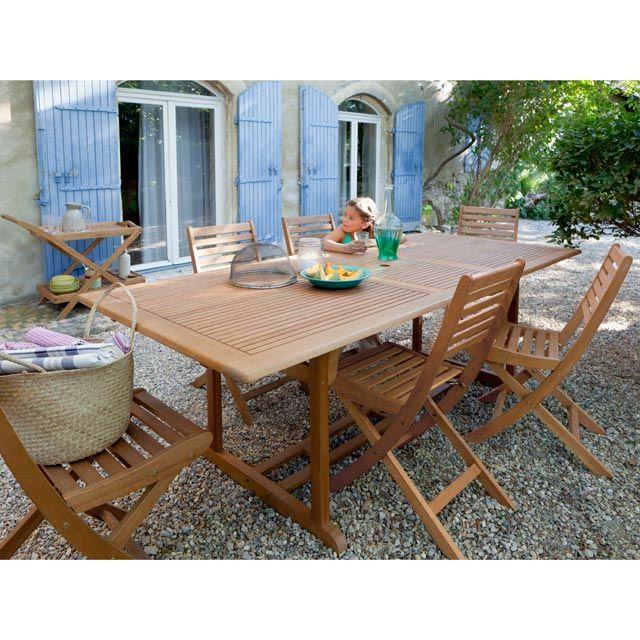 Table de jardin en bois Aland 180/230 x 100 cm - CASTORAMA