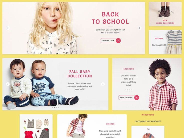 Sliders and banners for kids store